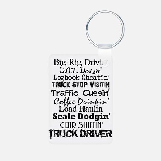 Big Rig Drivin' Aluminum Photo Keychain