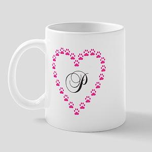 Pink Paw Heart Monogram Letter P Mugs
