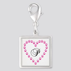 Pink Paw Heart Monogram Letter P Charms
