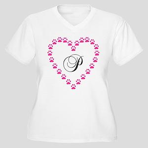 Pink Paw Heart Monogram Letter P Plus Size T-Shirt