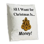 Christmas Money Burlap Throw Pillow