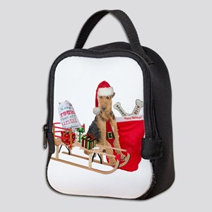 Airedale Merry Christmas Neoprene Lunch Bag