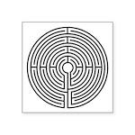 "Medieval Labyrinth Symbol Square Sticker 3"" X"