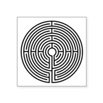 "Medieval Labyrinth Symbol Square Sticker 3"" X"