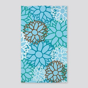 Floral Dahlia Flowers turquoise 3'x5' Area Rug