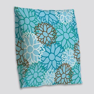 Floral Dahlia Flowers turquois Burlap Throw Pillow