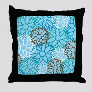 Floral Dahlia Flowers turquoise Throw Pillow