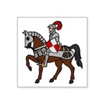 "Knight Mounted On Horse Square Sticker 3"" X 3"