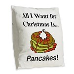 Christmas Pancakes Burlap Throw Pillow
