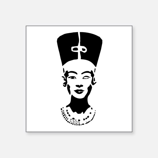 "Nefertiti Stencil Symbol Square Sticker 3"" X"