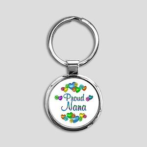 Proud Nana Round Keychain