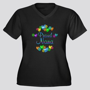 Proud Nana Women's Plus Size V-Neck Dark T-Shirt