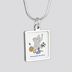Personalized Sports - Elep Silver Square Necklace