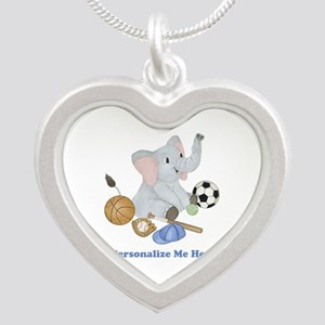 Personalized Sports - Elepha Silver Heart Necklace