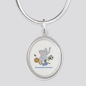 Personalized Sports - Elephan Silver Oval Necklace
