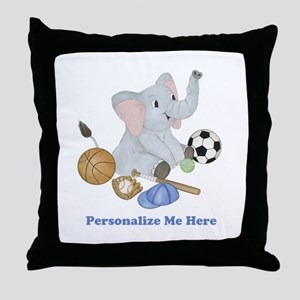 Personalized Sports - Elephant Throw Pillow