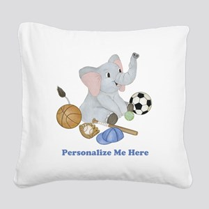 Personalized Sports - Elephan Square Canvas Pillow