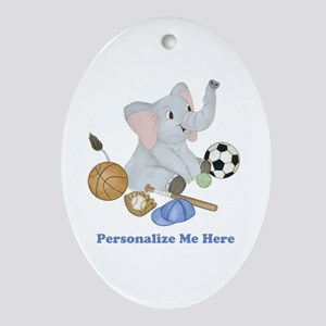Personalized Sports - Elephant Ornament (Oval)