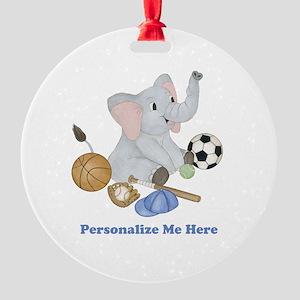 Personalized Sports - Elephant Round Ornament