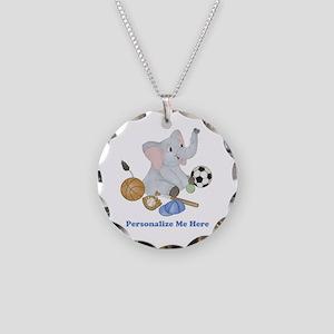 Personalized Sports - Elepha Necklace Circle Charm