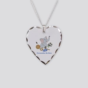 Personalized Sports - Elephan Necklace Heart Charm