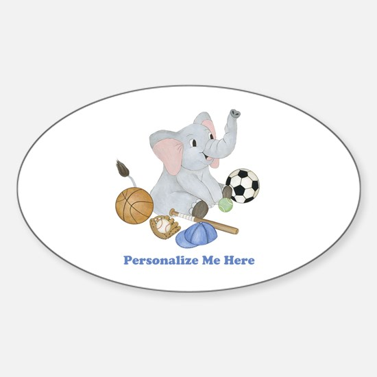 Personalized Sports - Elephant Sticker (Oval)