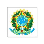 "Coat Of Arms Of Brazil Square Sticker 3"" X 3&"