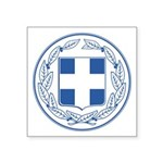 "Greek Coat Of Arms Square Sticker 3"" X 3"""