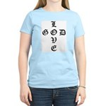 LOVE GOD -CROSS- CHRISTIAN Women's Pink T-Shirt
