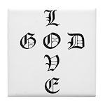 LOVE GOD -CROSS- CHRISTIAN Tile Coaster