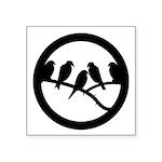 Birds On Branch Badge Symbol Square Sticker 3&quot