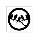 Birds On Branch Badge Symbol Square Sticker 3""