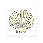 """Scallop Shell Symbol Square Sticker 3"""" X 3&qu"""