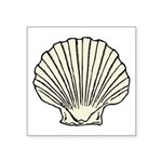 "Scallop Shell Symbol Square Sticker 3"" X 3&qu"
