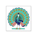 "Burmese Peacock Symbol Square Sticker 3"" X 3&"