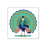 "Burmese Peacock Symbol Square Sticker 3"" X 3&"