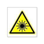 "Laser Warning Symbol Square Sticker 3"" X 3&qu"