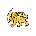 "Lion Holding Tusk Symbol Square Sticker 3"" X"