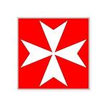 """White Maltese Cross Symbol Square Sticker 3"""""""