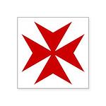 """Red Maltese Cross Symbol Square Sticker 3"""" X"""