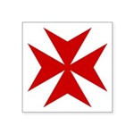 "Red Maltese Cross Symbol Square Sticker 3"" X"