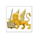 "Lion Of St. Mark Symbol Square Sticker 3"" X 3"