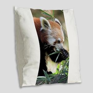 Red Panda 002 Burlap Throw Pillow