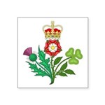 Crowned Royal Flowers Of Uk Square Sticker 3""