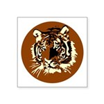 Tiger Head Circle Symbol Icon Square Sticker 3&quo
