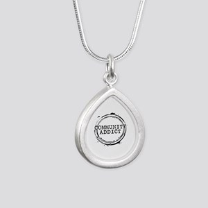 Community Addict Stamp Silver Teardrop Necklace