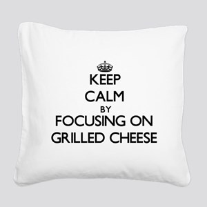 Keep Calm by focusing on Gril Square Canvas Pillow