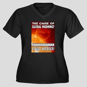 Solar Flare Women's Plus Size V-Neck Dark T-Shirt