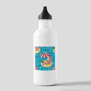 xmas beach santa claus Stainless Water Bottle 1.0L