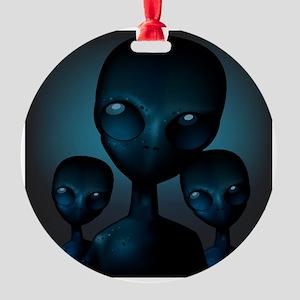 Friendly Blue Aliens Ornament